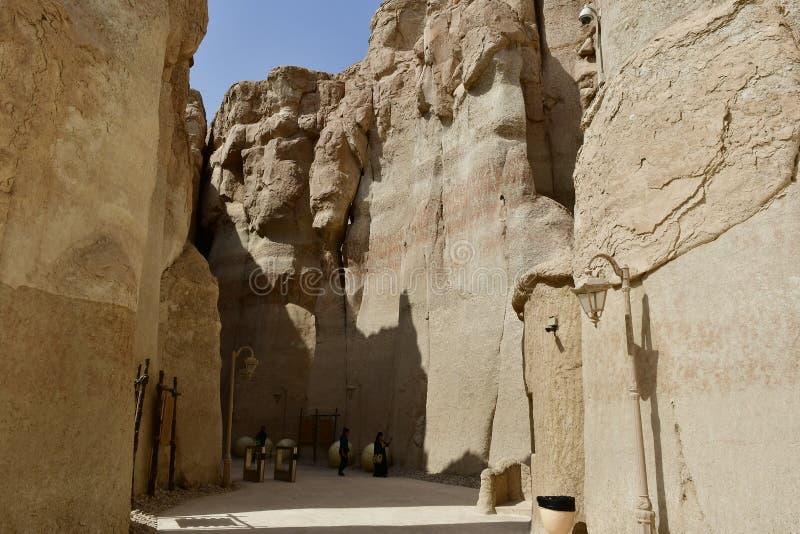 Zeer aantrekkelijke plaats aan reis naar de Al Qarah-bergen stock afbeelding