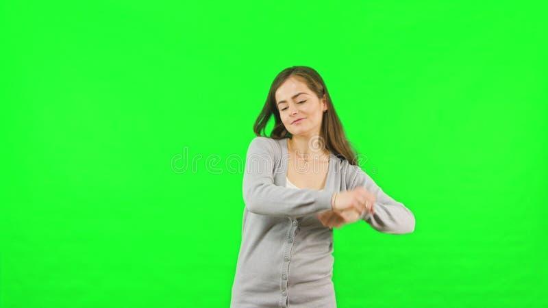 Zeer belangrijke het Schermachtergrond van de vrouwen Dansende Groene Chroma royalty-vrije stock foto's