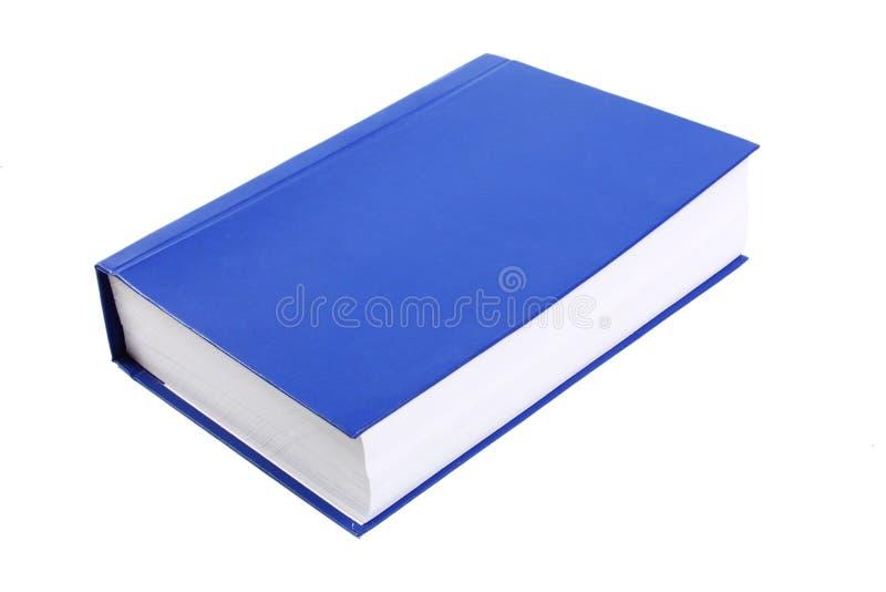 Zeer dik hardcover blauw die boek op witte achtergrond wordt geïsoleerdd royalty-vrije stock foto