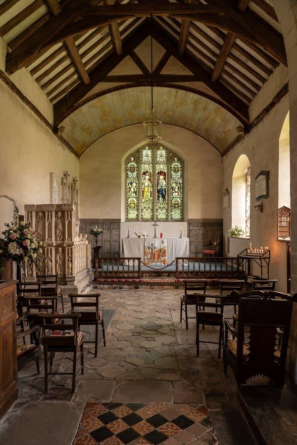 Zeer duidelijke en eenvoudige Kerk van St Michael en Alle Engelen in Croft royalty-vrije stock fotografie