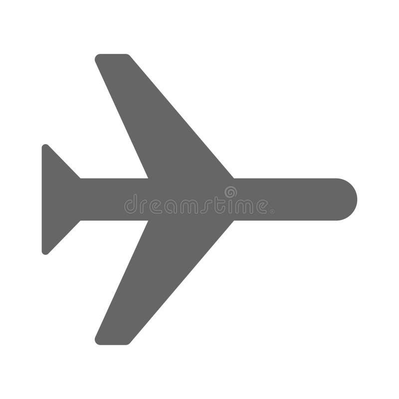 Zeer eenvoudig pictogram voor vliegtuig witte achtergrond royalty-vrije illustratie