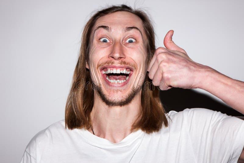 Zeer gelukkig mannetje De stomatologie reclame stock foto