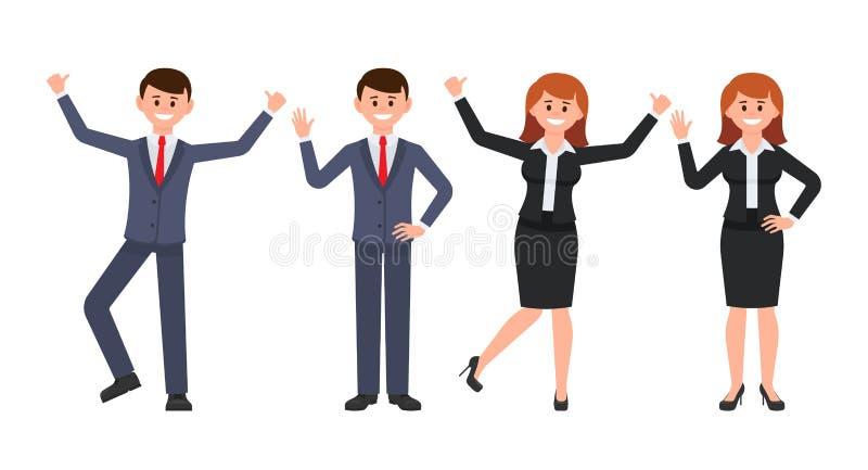 Zeer gelukkig zakenman en onderneemsterbeeldverhaalkarakter De vectorillustratie van glimlachend mannetje en wijfje in verschille vector illustratie