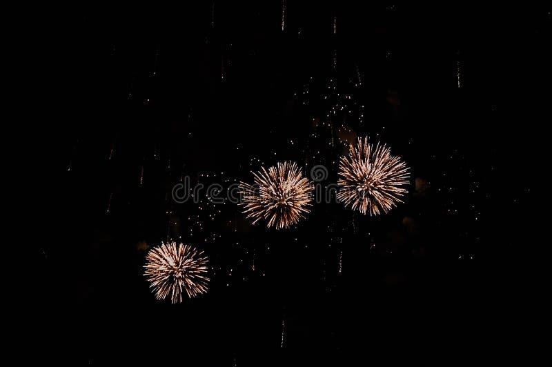 Zeer goedkoop vuurwerk over de purpere stad, royalty-vrije stock afbeeldingen
