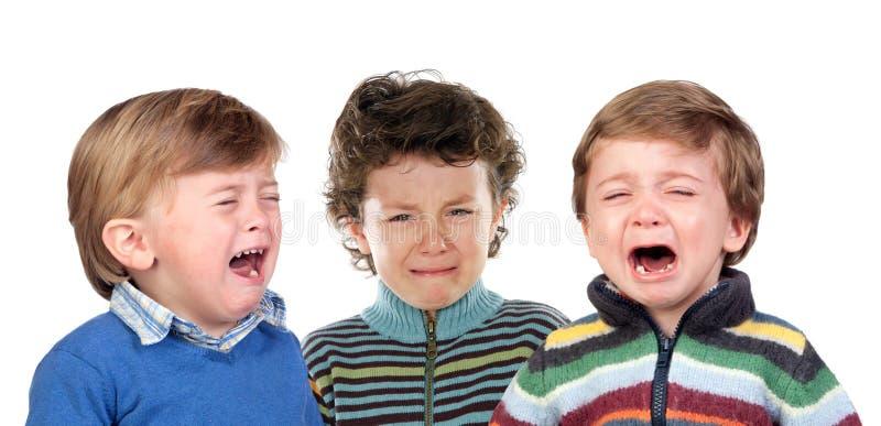 Zeer het droevige kinderen schreeuwen royalty-vrije stock afbeelding