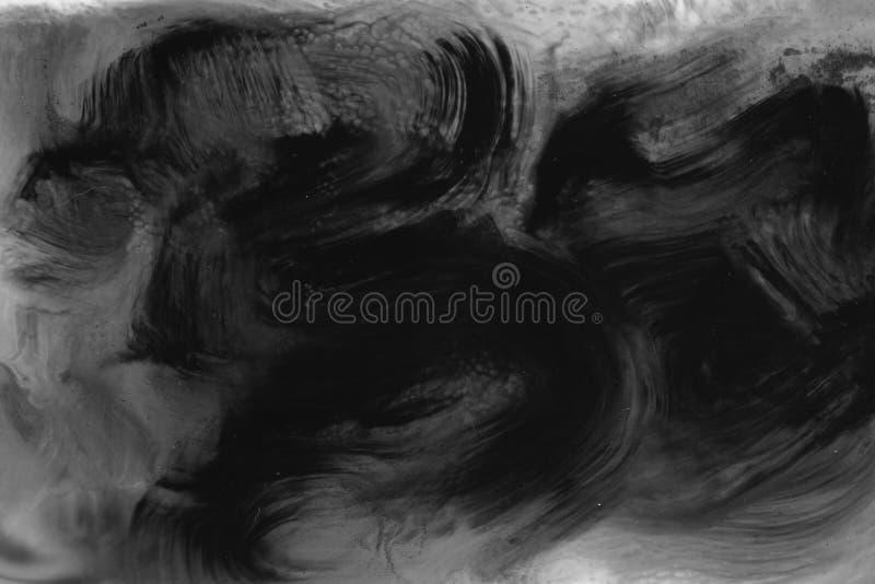 ZEER HOOGTEresolutie Waterverfslag Behang met waterverfeffect De zwarte acryltextuur van de verfslag op wit stock afbeeldingen