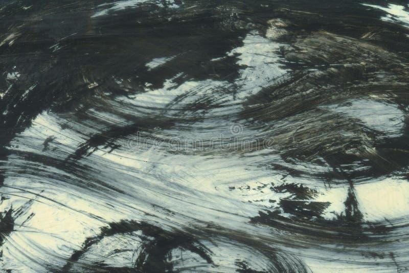 ZEER HOOGTEresolutie Waterverfslag Behang met waterverfeffect De zwarte acryltextuur van de verfslag op wit stock foto
