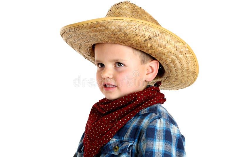 Zeer jonge jongen in cowboyhoed en bandana royalty-vrije stock afbeelding