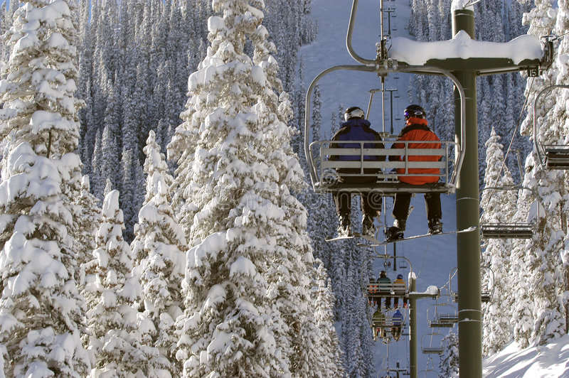 Zeer koude stoeltjeslift stock foto's