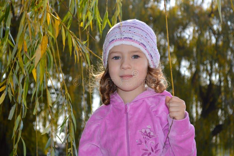 Zeer leuk meisje in een roze blouse royalty-vrije stock afbeelding