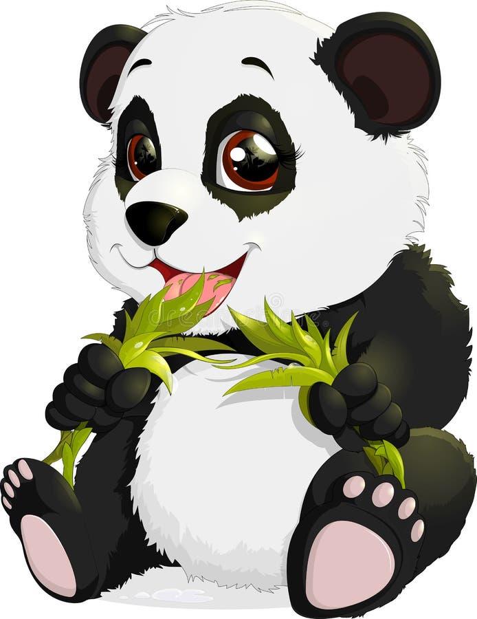Zeer leuke panda die bamboe eet royalty-vrije illustratie