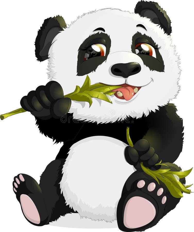 Zeer leuke panda die bamboe eet stock illustratie