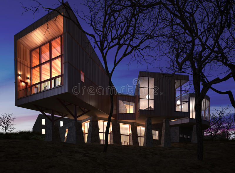Zeer modern modieus die huis van hout, steen en glas wordt gemaakt. stock foto