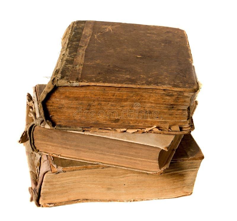 Zeer oud die boek op wit wordt geïsoleerd stock afbeelding