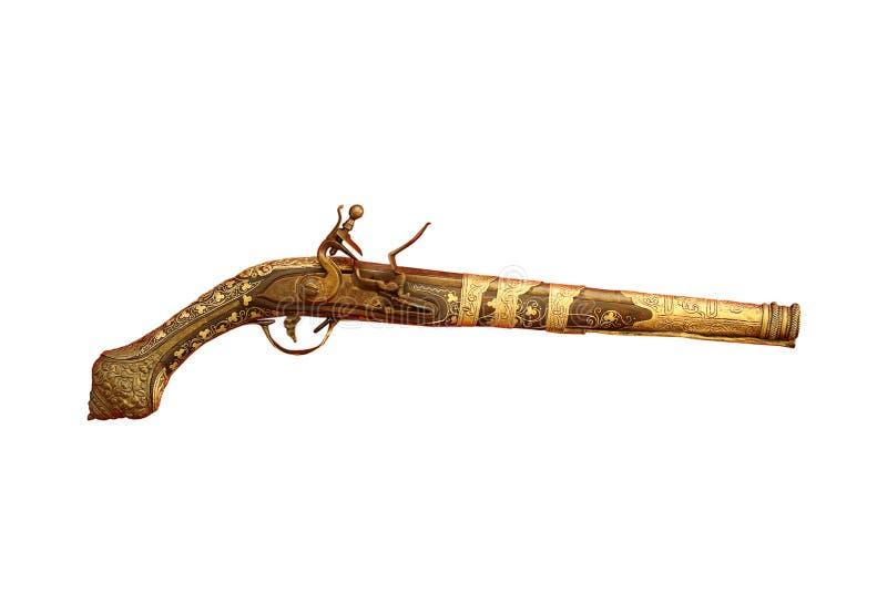 Zeer oud die pistool op wit wordt geïsoleerd royalty-vrije stock afbeelding
