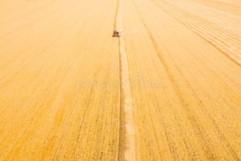 Zeer oud Ruw Combine oogst tarwe in het veld bij zonsondergang in de herfst in Rusland weergave vanaf hoogte royalty-vrije stock foto's