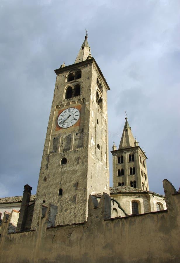 Zeer oude kerk, Aosta, Italië royalty-vrije stock foto