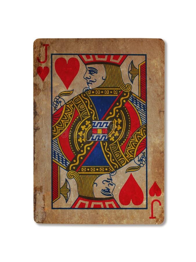 Zeer oude speelkaart, Jack van harten stock foto's