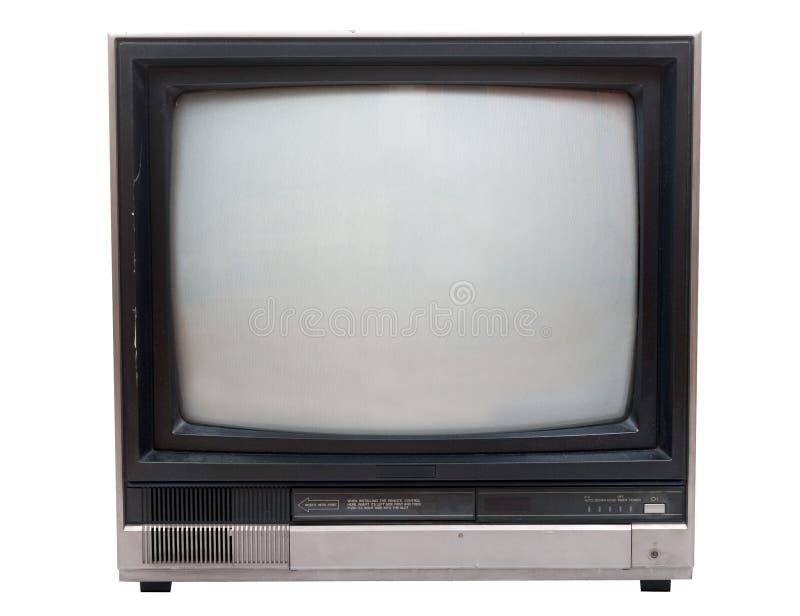 Zeer oude Televisie die over wit in studio wordt geïsoleerdu. royalty-vrije stock afbeelding