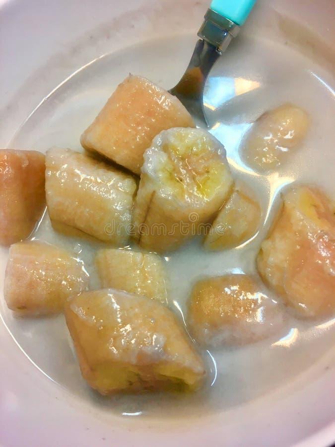 Zeer populair Beeld van banaan in kokosmelk, Thais dessert royalty-vrije stock fotografie