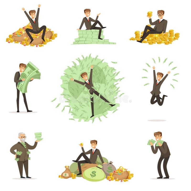 Zeer Rich Man Bathing In His-Geld, Gelukkige Mannelijke het Karakterreeks van de Miljonairmagnaat Illustraties stock illustratie
