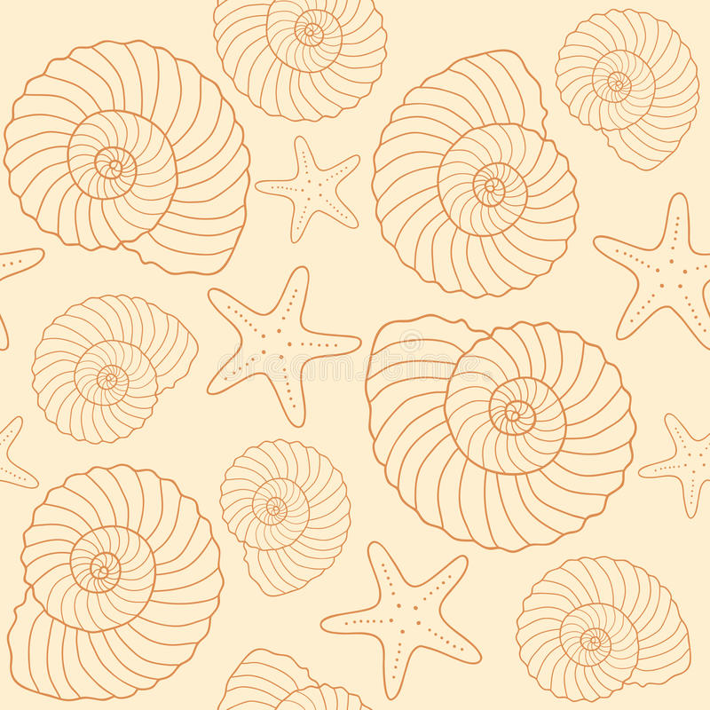 Zeeschelpen en van stervissen patroon vector illustratie