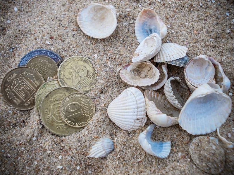 Zeeschelpen in het zand en het geld royalty-vrije stock afbeeldingen