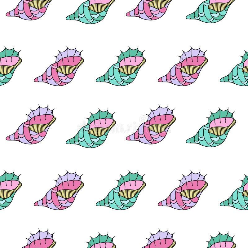 Zeeschelpen Naadloos patroon Geïsoleerdj op witte achtergrond Getrokken hand vector illustratie