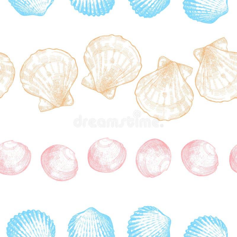 Zeeschelpen naadloos patroon voor uw oceaan het levensontwerp vector illustratie