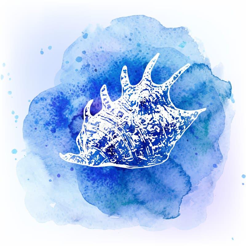 Zeeschelpen op waterverf blauwe achtergrond Overzeese achtergrond vector illustratie