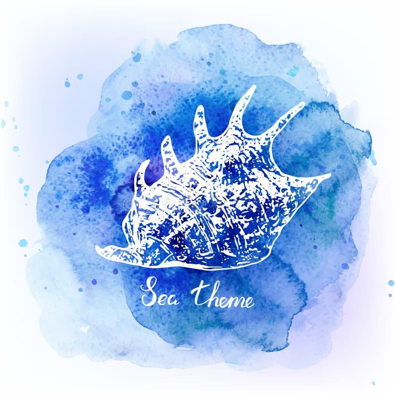 Zeeschelpen op waterverf blauwe achtergrond Overzeese achtergrond Vector illustratie vector illustratie