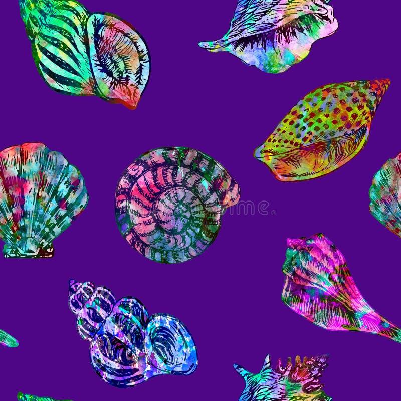 Zeeschelpenillustratie, hand geschilderde kleurrijke abstracte waterverfplonsen, hand geschilderde waterverfillustratie vector illustratie