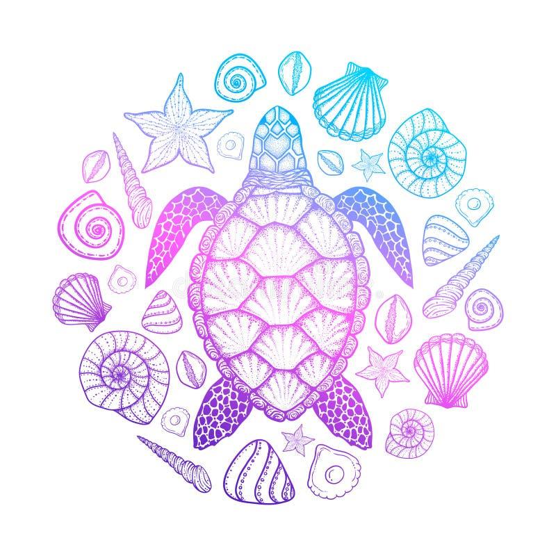 Zeeschildpad en shells in de stijl van de lijnkunst Hand getrokken vectorillustratie Ontwerp voor het kleuren van boek Reeks ocea stock illustratie