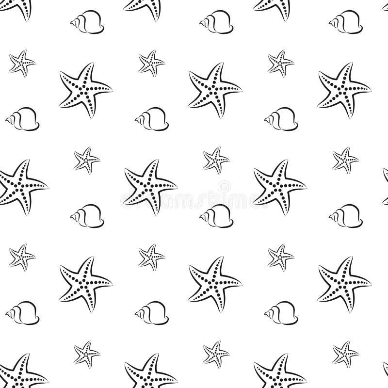 Zeester en shell Patroon Naadloze vectorillustratie Kunstlijn vlak royalty-vrije illustratie