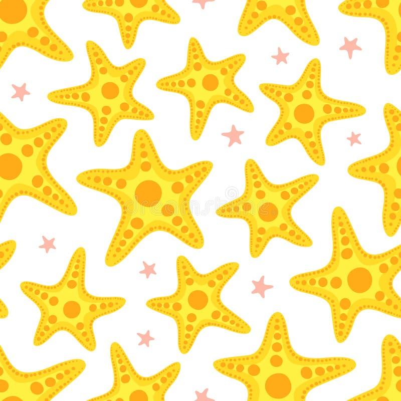 Zeester naadloos patroon Zeevaartachtergrond met gele overzeese sterren vector illustratie