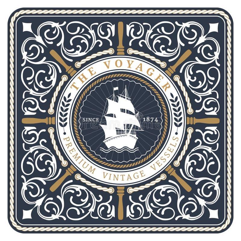 Zeevaart de Reiziger Retro Kaart royalty-vrije illustratie