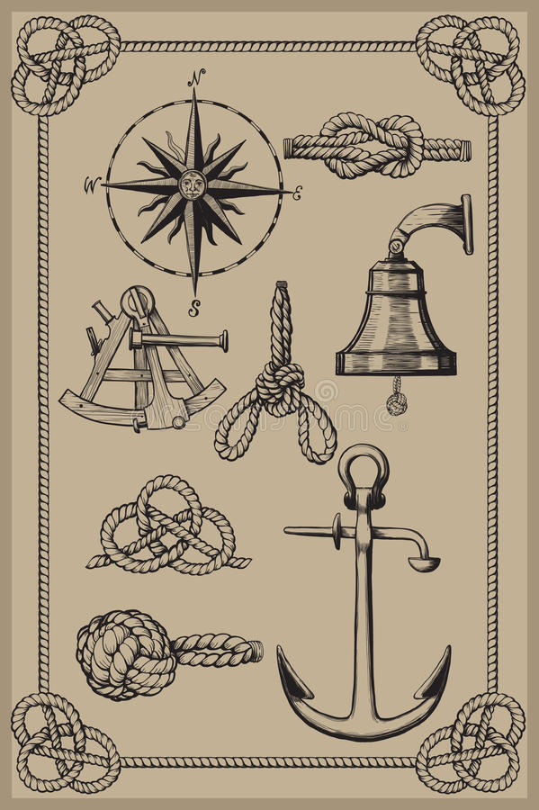 Zeevaart elementen stock illustratie