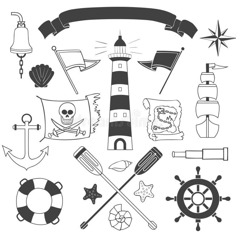 Zeevaart en overzeese reeks vector illustratie