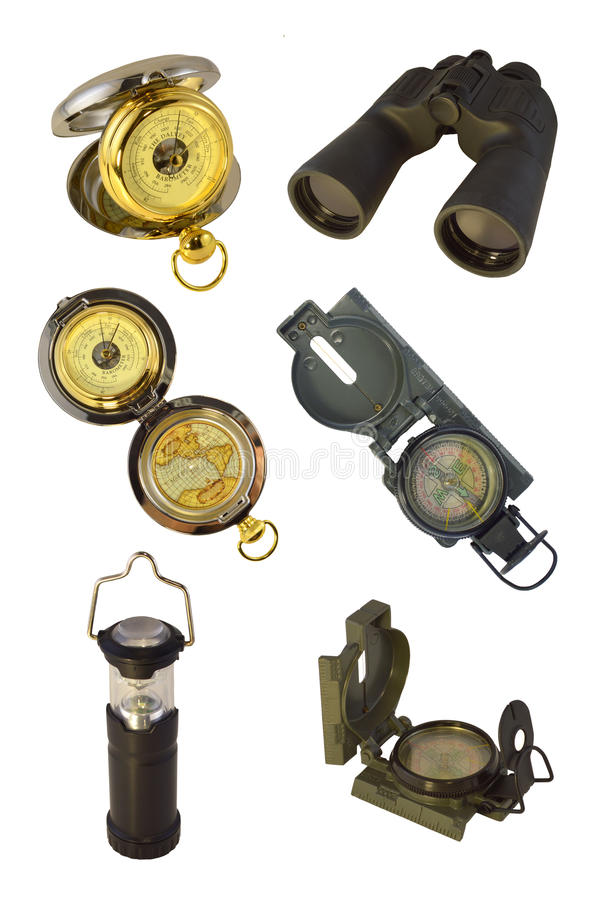 Zeevaart geïsoleerdeg instrumenten stock afbeeldingen