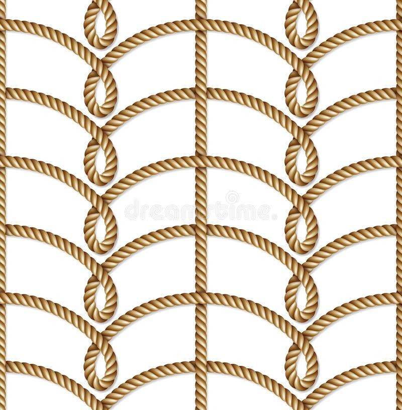 Zeevaart gele geweven kabel, naadloos patroon, achtergrond royalty-vrije illustratie