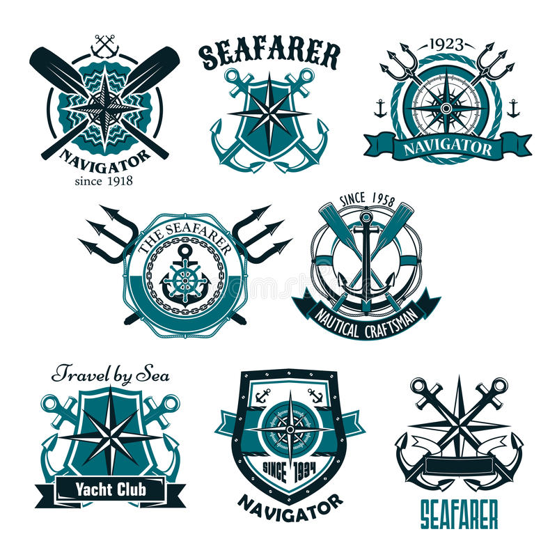 Zeevaart heraldische vectorpictogrammen van mariene zeevaarder stock illustratie