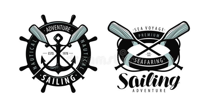 Zeevaart, het varen embleem of etiket Marien concept Typografische ontwerpvector royalty-vrije illustratie