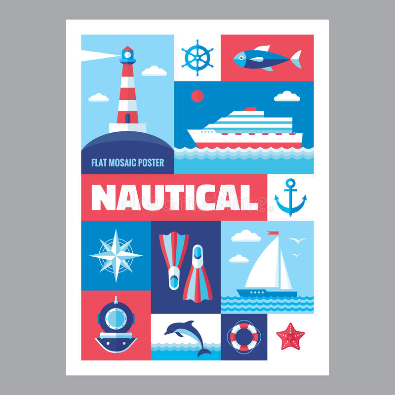 Zeevaart - mozaïekaffiche met pictogrammen in vlakke ontwerpstijl Vector geplaatste pictogrammen royalty-vrije illustratie