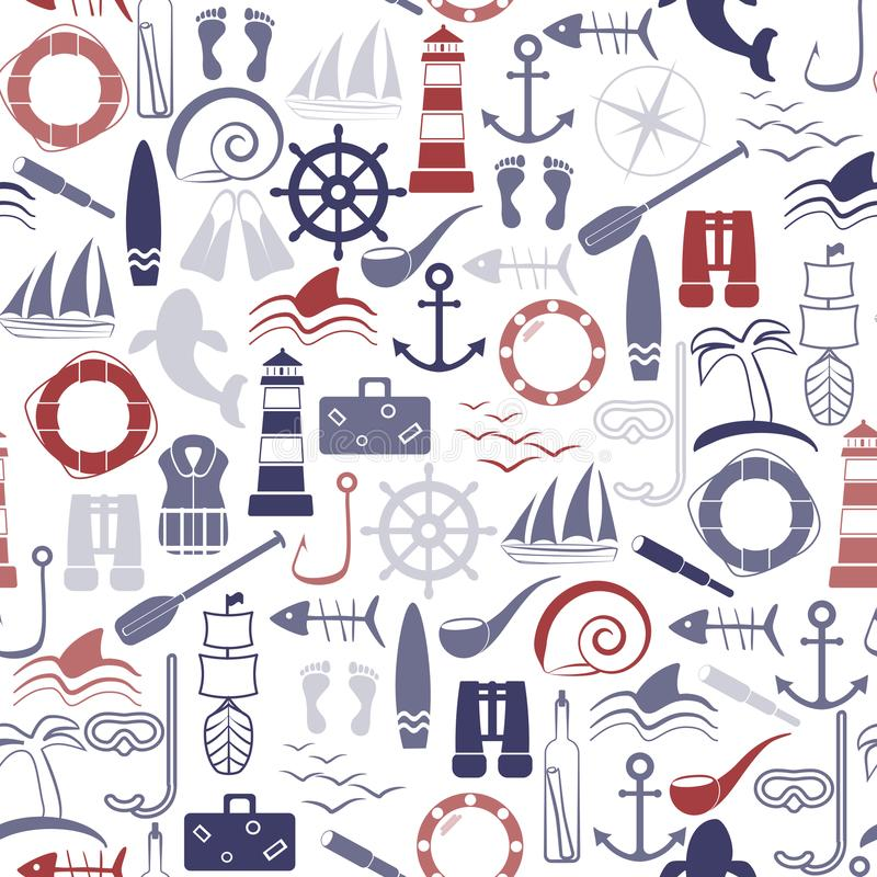 Zeevaart Naadloos Patroon stock afbeeldingen