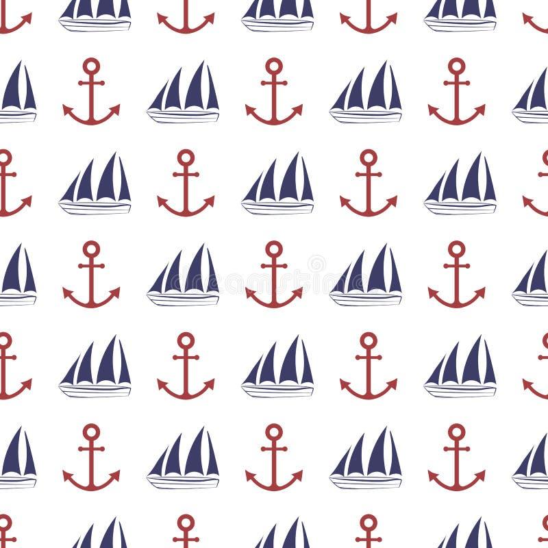 Zeevaart Naadloos Patroon stock afbeelding