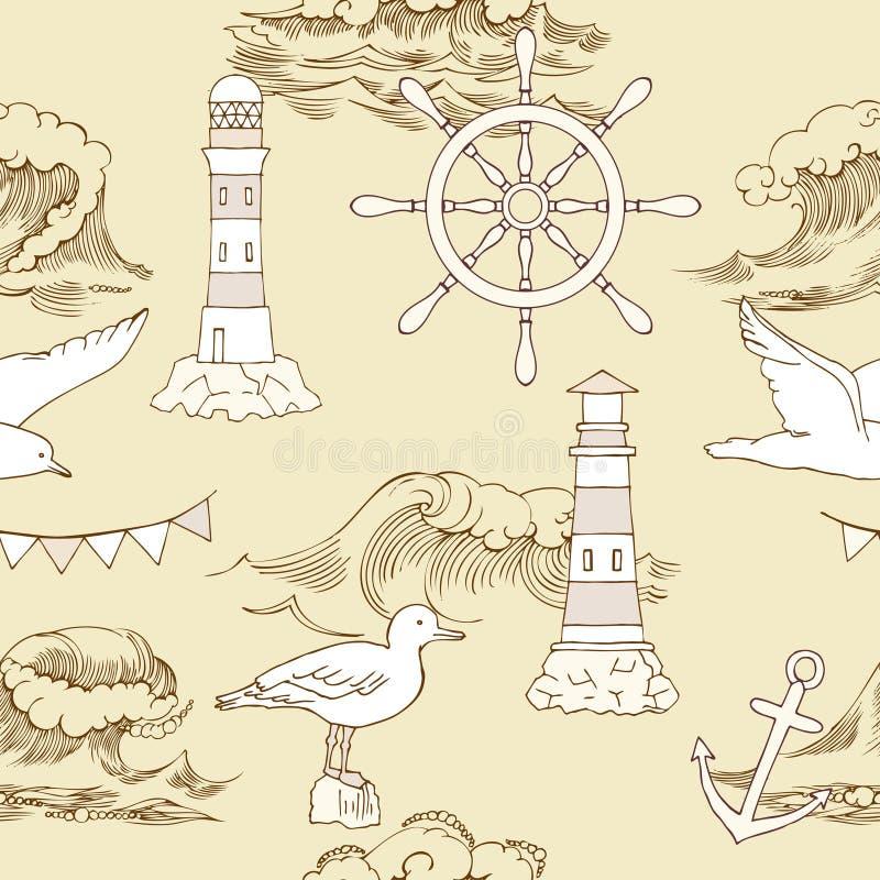 Zeevaart Naadloos Patroon stock illustratie