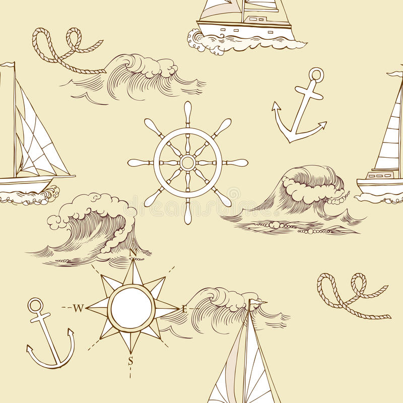 Zeevaart Naadloos Patroon royalty-vrije illustratie