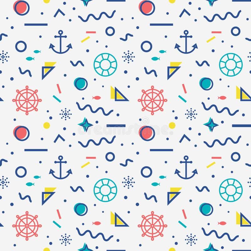 Zeevaart naadloos patroon in de stijl van Memphis vector illustratie