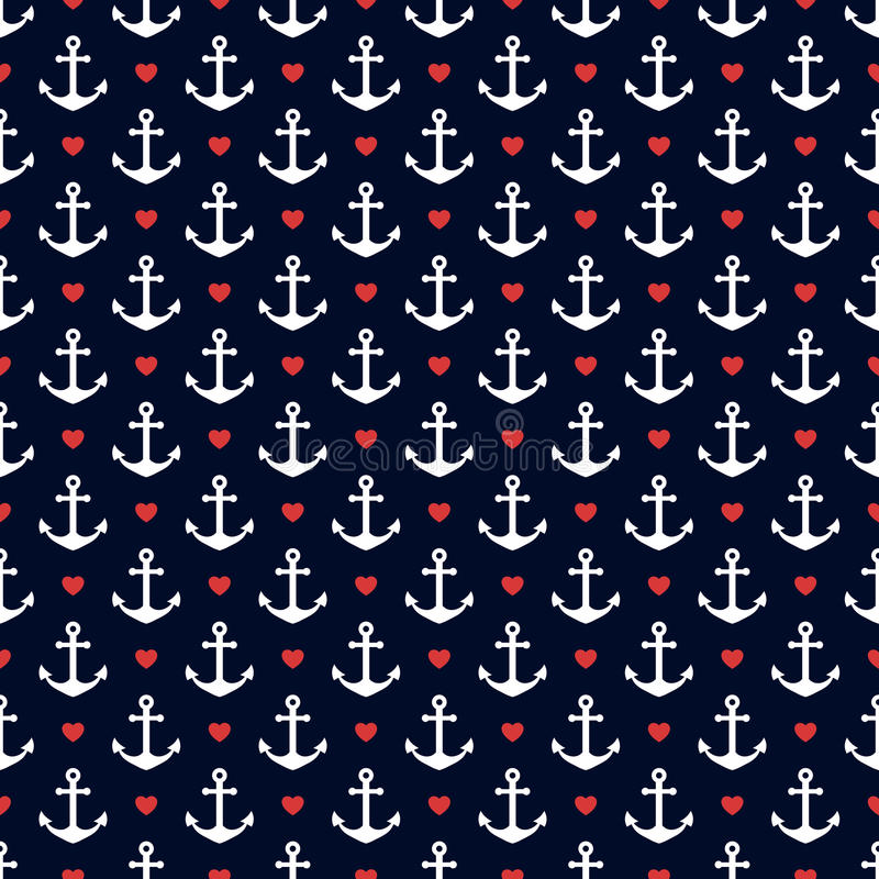Zeevaart naadloos patroon met ankers en harten vector illustratie
