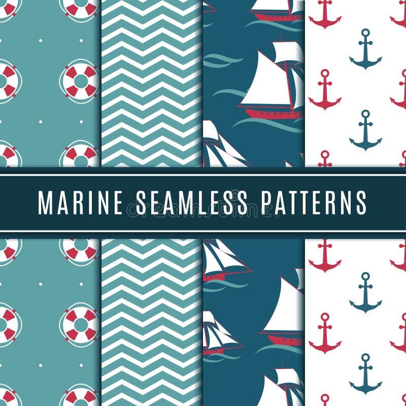 Zeevaart naadloze patronen voor jonge geitjes Mariene vectordieachtergrond met zeilboot, zeeanker en jacht wordt geplaatst royalty-vrije illustratie